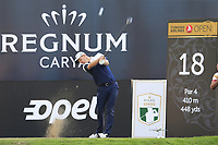 Justin Rose (ENG) tees off the 18th tee at the end of Sunday's Final Round of the 2018 Turkish Airlines Open hosted by Regnum Carya Golf &amp; Spa Resort, Antalya, Turkey. 4th November 2018.<br /> Picture: Eoin Clarke | Golffile<br /> <br /> <br /> All photos usage must carry mandatory copyright credit (&copy; Golffile | Eoin Clarke)