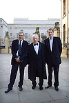 (L-R) Orhan Pamuk, Lord Patten and Jason Cowley before the Chancellor's Lecture at the Sheldonian Theatre, during the FT Weekend Oxford Literary Festival, Oxford, UK. Saturday 29 March 2014.<br /> <br /> PHOTO COPYRIGHT Graham Harrison<br /> graham@grahamharrison.com<br /> <br /> Moral rights asserted.