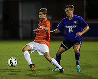 The number 24 ranked Furman Paladins took on the number 20 ranked Clemson Tigers in an inter-conference game at Clemson's Riggs Field.  Furman defeated Clemson 2-1.  Paul Clowes (6), Kevin Pahl (14)