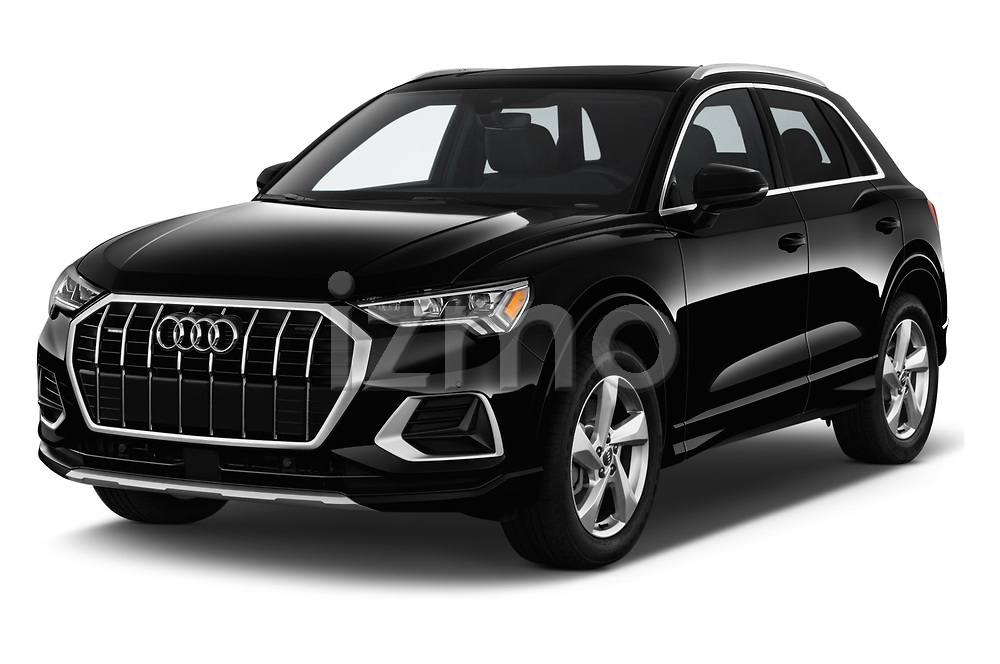 2019 Audi Q3 Premium Plus 5 Door SUV angular front stock photos of front three quarter view