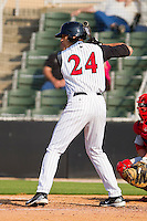 Trayce Thompson #24 of the Kannapolis Intimidators at bat against the Greenville Drive at Fieldcrest Cannon Stadium on May 8, 2011 in Kannapolis, North Carolina.   Photo by Brian Westerholt / Four Seam Images