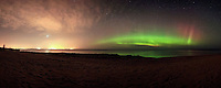Northern Lights aurora borealis panorama, panoramic Upper Peninsula of Michigan