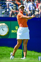 Suzann Pettersen (NOR) watches her tee shot on 1 during Sunday's final round of the 2017 KPMG Women's PGA Championship, at Olympia Fields Country Club, Olympia Fields, Illinois. 7/2/2017.<br /> Picture: Golffile   Ken Murray<br /> <br /> <br /> All photo usage must carry mandatory copyright credit (&copy; Golffile   Ken Murray)