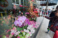 The windows of Macy's flagship department store in Herald Square in New York are seen decorated for their annual Macy's Flower Show on Sunday, March 25, 2012. The show, whose theme this year is Brazil and its tropical flowers will take place in a 5000 square foot tent set up outside the store on Broadway because of ongoing major renovations to the store. (© Richard B. Levine)