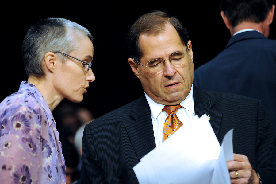 "Congressman Jerrold Nadler talks with Heather Sawyer, Minority Council to the House Judiciary Committee, before a the hearing entitled ""S.598, The Respect for Marriage Act: Assessing the Impact of DOMA on American Families."" (Photos by ©Amanda Lucidon/LucidPix)"