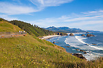 Hiking the Tillamook Head trail from Seaside to Cannon Beach,  Oregon.  The view towards Cannon Beach from Ecola State Park.