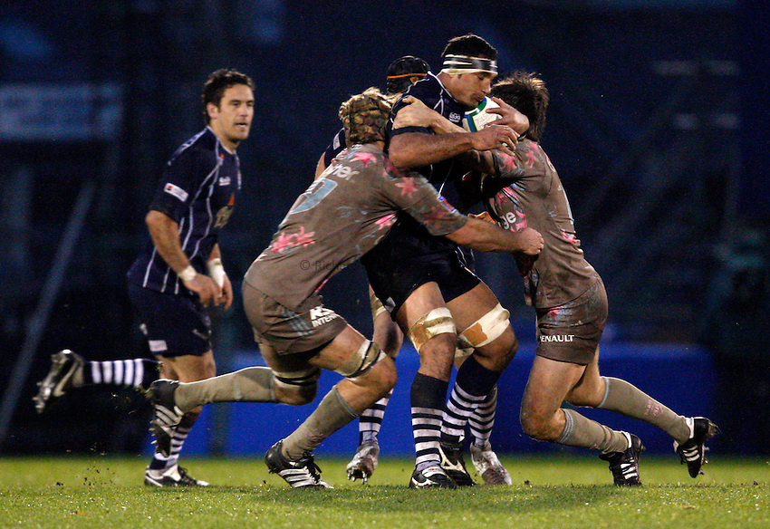 Photo: Richard Lane/Richard Lane Photography..Bristol Rugby v Stade Francais. Heineken Cup. 18/11/2007. .Bristol's Andrew Blowers attacks.