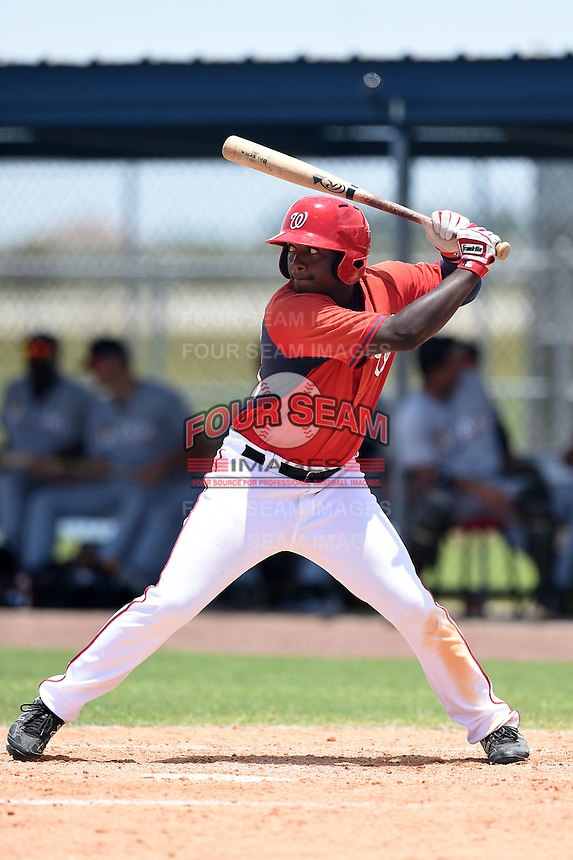 GCL Nationals outfielder Luis Guzman (25) at bat during a game against the GCL Marlins on June 28, 2014 at the Carl Barger Training Complex in Viera, Florida.  GCL Nationals defeated the GCL Marlins 5-0.  (Mike Janes/Four Seam Images)