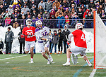 University at Albany Men's Lacrosse defeats Cornell 11-9 on Mar 4 at Casey Stadium.  Zach wolfe (#16) shoots on Cornell Goalkeeper Christian Knight (#40).
