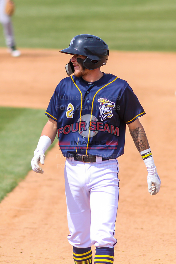 Wisconsin Timber Rattlers second baseman Brice Turang (2) during a Midwest League game against the Burlington Bees on April 28, 2019 at Fox Cities Stadium in Appleton, Wisconsin. Wisconsin defeated Burlington 5-4. (Brad Krause/Four Seam Images)