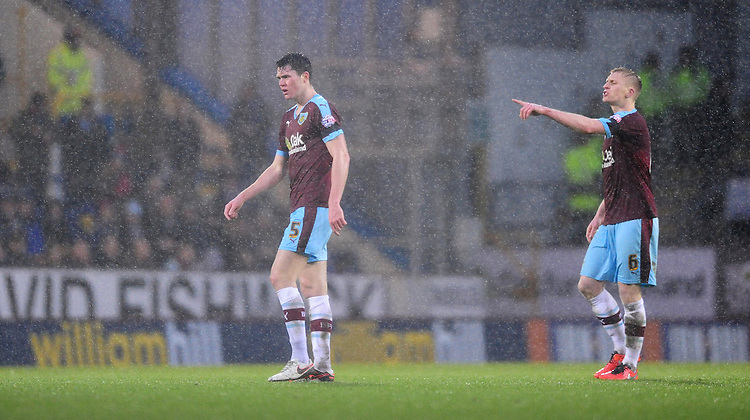 Burnley's Michael Keane, left, and Burnley's Ben Mee<br /> <br /> Photographer Chris Vaughan/CameraSport<br /> <br /> Football - The Football League Sky Bet Championship - Burnley v Hull City - Saturday 6th February 2016 - Turf Moor - Burnley <br /> <br /> &copy; CameraSport - 43 Linden Ave. Countesthorpe. Leicester. England. LE8 5PG - Tel: +44 (0) 116 277 4147 - admin@camerasport.com - www.camerasport.com