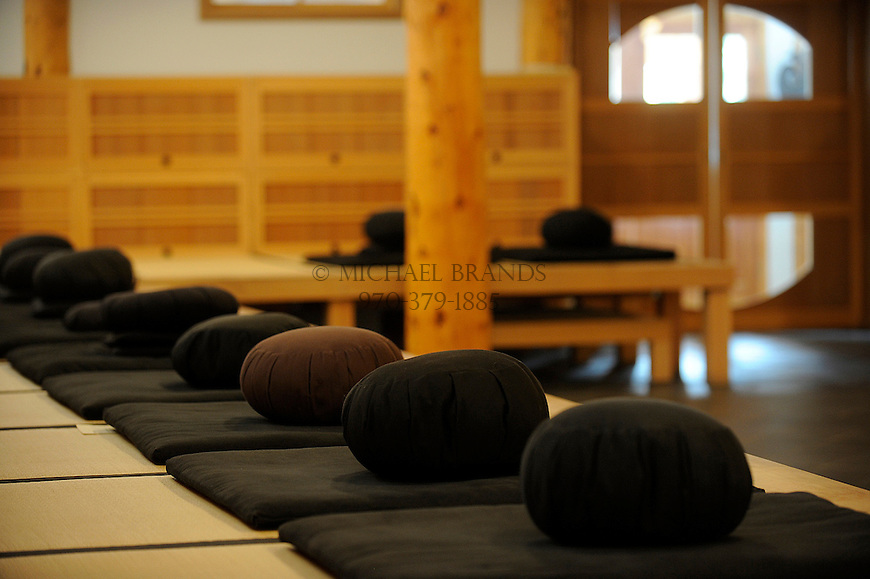 Zafus (pillows used during meditation) inside the Zendo at the Crestone Mountain Zen Center. Michael Brands for The New York Times.
