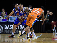 Leon Henry (Saints) steals from Orlando Coleman (Sharks)during the national basketball league final  between Wellington Saints and Southland Sharks at TSB Bank Arena in Wellington, New Zealand on Sunday, 5 August 2018. Photo: Dave Lintott / lintottphoto.co.nz