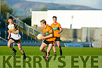 in Action Stacks Feral Ryan and Crokes Michael Potts in  the Keanes Supervalu Killorglin Minor Football League Finals Division 1 Final at Austin Stacks park on Friday  Austin Stacks Vs Dr. Crokes