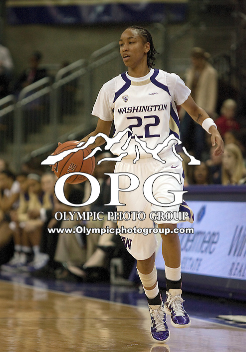 December 12, 2010:  Washington Huskies guard Charmaine Barlow brings the ball down court against UC Riverside.  UC Riverside defeated Washington 59-54 at Hec Edmundson Pavilion in Seattle, WA.
