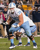 North Carolina offensive tackle Bentley Spain. The North Carolina Tar Heels football team defeated the Pitt Panthers 26-19 on Thursday, October 29, 2015 at Heinz Field, Pittsburgh, Pennsylvania.