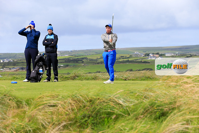Cathal Butler (Kinsale) during the last 16 of the South of Ireland from Lahinch golf club, Lahinch, Co. Clare, Ireland. <br /> Picture: Fran Caffrey / Golffile