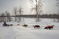 Dee Dee Jonrowe on the trail shortly after leaving the Takotna checkpoint during Iditarod 2009