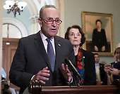 United States Senate Minority Leader Chuck Schumer (Democrat of New York), left, makes a statement to reporters on the latest FBI report on Judge Brett Kavanaugh as United States Senator Dianne Feinstein (Democrat of California), right, ranking member, US Senate Committee on the Judiciary, looks on in the US Capitol in Washington, DC on Thursday, October 4, 2018. <br /> Credit: Ron Sachs / CNP<br /> (RESTRICTION: NO New York or New Jersey Newspapers or newspapers within a 75 mile radius of New York City)