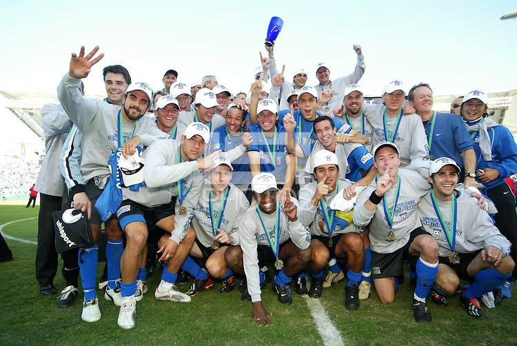 The San Jose Earthquakes celebrate after defeating teh the Chicago Fire 4-2, in the MLS Championship, in Carson, Calif.