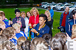 Dame Kelly Holmes talks about her 2 Gold and 1 Bronze Olympic medal to the juvenile athletes on her visit  to the Harriers Running Club on Thursday.