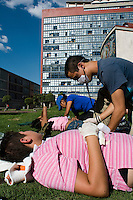 Training in auxilios pre-hospitalarias (pre-hospital emergency attention). The Mexico City campus (Ciudad Universitario) of the UNAM (Universidad Autonomo de Mexico) Mexico City. June 20, 2008