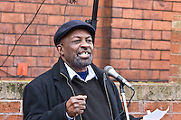 Maxie Hayles speaking at the Malcom X, Marshall Street, Smethwick, Blue Plaque unveiling