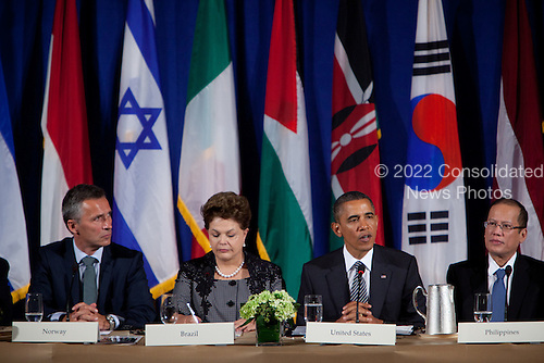 United States President Barack Obama makes remarks at a meeting of the Open Government Partnership, a global effort to make governments better at the Waldorf-Astoria in New York, New York on Tuesday, September 20, 2011.  From left to right: Jens Stoltenberg, Prime Minister of Norway; President Dilma Rousseff of Brazil; President Barack Obama; and President Benigno S. Aquino III of Philippines..Credit: Allan Tannenbaum / Pool via CNP