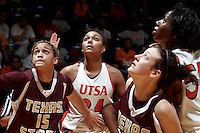 SAN ANTONIO, TX - JANUARY 21, 2012: The Texas State University Bobcats vs. The University of Texas at San Antonio Roadrunners Women's Basketball at the UTSA Convocation Center. (Photo by Jeff Huehn)