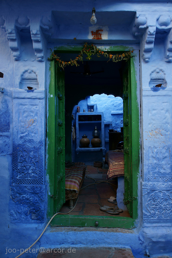 view into door and living room of a house in  Jodhpur,  Rajastan, India
