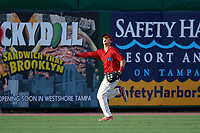 Clearwater Threshers center fielder Mickey Moniak (2) calls for a fly ball during a game against the Florida Fire Frogs on June 1, 2018 at Spectrum Field in Clearwater, Florida.  Florida defeated Clearwater 12-10.  (Mike Janes/Four Seam Images)
