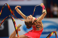 Mariya Mateva of Bulgaria (junior) performs ribbon event final at 2008 European Championships at Torino, Italy on June 7, 2008.  Photo by Tom Theobald.