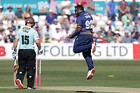 Ashar Zaidi of Essex celebrates taking the wicket of Jason Roy during Essex Eagles vs Surrey, Vitality Blast T20 Cricket at The Cloudfm County Ground on 5th August 2018
