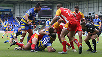 Warrington Wolves' Ben Murdoch-Masila celebrates as his team-mate Sitaleki Akauola scores his side's fourth try <br /> <br /> Photographer Stephen White/CameraSport<br /> <br /> Betfred Super League Round 17 - Warrington Wolves v Catalans Dragons - Saturday 8th June 2019 - Halliwell Jones Stadium - Warrington<br /> <br /> World Copyright © 2019 CameraSport. All rights reserved. 43 Linden Ave. Countesthorpe. Leicester. England. LE8 5PG - Tel: +44 (0) 116 277 4147 - admin@camerasport.com - www.camerasport.com
