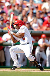5 September 2005: Jose Guillen, outfielder for the Washington Nationals, in brushed back by a pitch during a game against the Florida Marlins. The Nationals defeated the Marlins 5-2 at RFK Stadium in Washington, DC. Mandatory Photo Credit: Ed Wolfstein.
