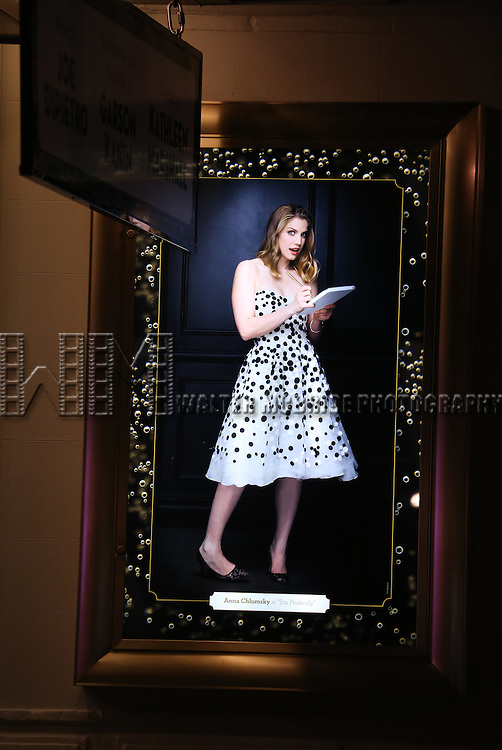 Theatre Marquee, featuring Anna Chlumsky, for the Broadway Opening Night Performance of 'Living on Love' at The Longacre Theatre on April 20, 2015 in New York City.