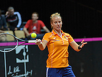 13 April, 2016, France, Trélazé, Arena Loire,   Semifinal FedCup, France-Netherlands, Dutch team warming up, Richel Hogenkamp<br /> Photo: Henk Koster/tennisimages