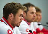 Swiss, Genève, September 14, 2015, Tennis,   Davis Cup, Swiss-Netherlands, press conference Swiss team , Ltr: Stan Wawrinka, captain Severin Luthi, Marco Chiudinelli and Henri Laaksonen<br /> Photo: Tennisimages/Henk Koster