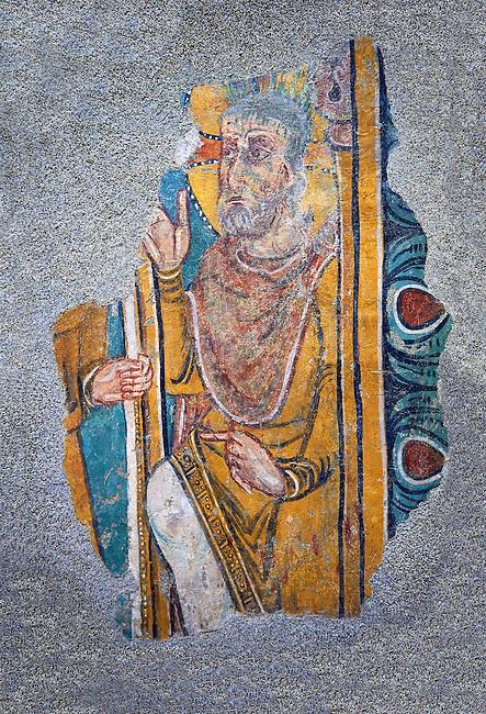 Romanesque frescoes of St. Steven of Andorra (Sant Esteve) from the church of Sant Esteve d'Andorra, painted around 1200-1210,  Andorra la Vella. National Art Museum of Catalonia, Barcelona. MNAC 35706