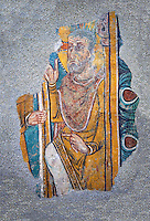 Romanesque frescoes of St. Steven of Andorra (Sant Esteve) from the church of Sant Esteve d'Andorra, painted around 1200-1210,  Andorra la Vella. National Art Museum of Catalonia, Barcelona. MNAC 35706