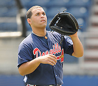 July 15, 2009: Catcher Osman Marval (22) of the Danville Braves, rookie Appalachian League affiliate of the Atlanta Braves, before a game at Dan Daniel Memorial Park in Danville, Va. Photo by:  Tom Priddy/Four Seam Images