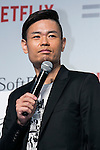 Member of Comedian Group Shinagawa Shoji, Hiroshi Shinagawa speaks during a media event to announce a business alliance for the Netflix video delivery service in Japan on August 24, 2015, Tokyo, Japan. From September 2nd SoftBank's 37 million users will be able to access a Netflix Inc. subscription starting at 650 JPN (5.34 USD) for a Standard SD plan. The companies also plan to work on joint content creation projects. (Photo by Rodrigo Reyes Marin/AFLO)