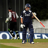 Scottish Saltires V Somerset Sabres, Friends Provident Trophy, Grange CC, Edinburgh - other way up... Saltires Dewalt Nel checks his bat out after losing his wicket, Scotland's last, in the match, which the Sabres won my 37 runs - Picture by Donald MacLeod - 20 May 2009