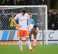 Blackpool's Matty Virtue, left, and Blackpool's Ben Heneghan react after Burton Albion's Lucas Akins scored his side's third goal <br /> <br /> Photographer Chris Vaughan/CameraSport<br /> <br /> The EFL Sky Bet League One - Burton Albion v Blackpool - Saturday 16th March 2019 - Pirelli Stadium - Burton upon Trent<br /> <br /> World Copyright &copy; 2019 CameraSport. All rights reserved. 43 Linden Ave. Countesthorpe. Leicester. England. LE8 5PG - Tel: +44 (0) 116 277 4147 - admin@camerasport.com - www.camerasport.com