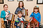 Felie Feabhra: Accordian players pictured at the annual Feile Feabhra organized by the Lixnaw branch of CCE at the Ceolan Centre, Lixnaw on Saturday last were in front Shane Lynch and at the back Laura Lynch, Ciara O'Sullivan & Trina Kennedy.