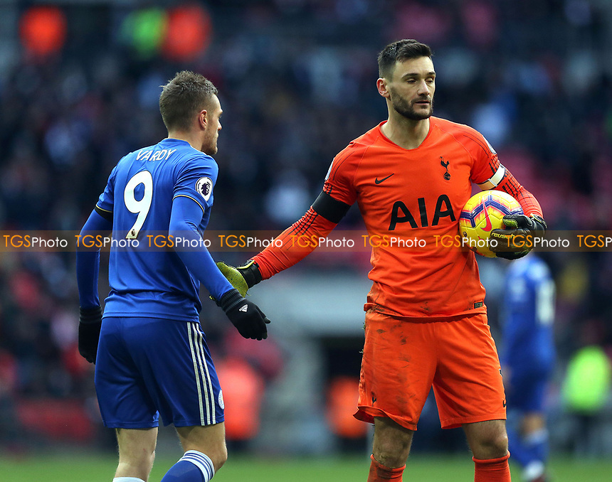 Hugo Lloris of Tottenham Hotspur and Jamie Vardy of Leicester City during Tottenham Hotspur vs Leicester City, Premier League Football at Wembley Stadium on 10th February 2019