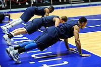 GRONINGEN - Eerste training Donar, seizoen 2017-2018, 30-08-2017,  warming up Donar speler Brandyn Curry, Donar speler Aron Roye en Donar speler Stephen Domingo