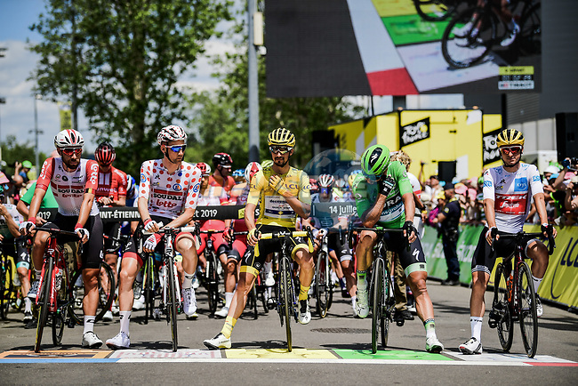 The leaders jerseys lined up for the start of Stage 9 of the 2019 Tour de France running 170.5km from Saint-Etienne to Brioude, France. 14th July 2019.<br /> Picture: ASO/Pauline Ballet | Cyclefile<br /> All photos usage must carry mandatory copyright credit (© Cyclefile | ASO/Pauline Ballet)
