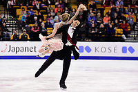 Wednesday, March 30, 2016: Kaitlyn Weaver and Andrew Poje (CAN) skate in the short dance event at  the International Skating Union World Championship held at TD Garden, in Boston, Massachusetts. Eric Canha/CSM