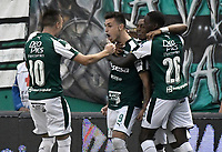 PALMIRA - COLOMBIA, 31-03-2019: Juan Ignacio Dinenno (#9) del Cali celebra después de anotar el primer gol de su equipo durante partido por la fecha 12 de la Liga Águila I 2019 entre Deportivo Cali y Cúcuta Deportivo jugado en el estadio Deportivo Cali de la ciudad de Palmira. / Juan Ignacio Dinenno (#9) of Cali celebrates after scoring the first goal of his team during match for the date 12 as part Aguila League I 2019 between Deportivo Cali and Cucuta Deportivo played at Deportivo Cali stadium in Palmira city.  Photo: VizzorImage / Gabriel Aponte / Staff